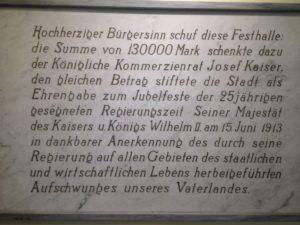 Gedenktafel im Foyer der Festhalle in Viersen