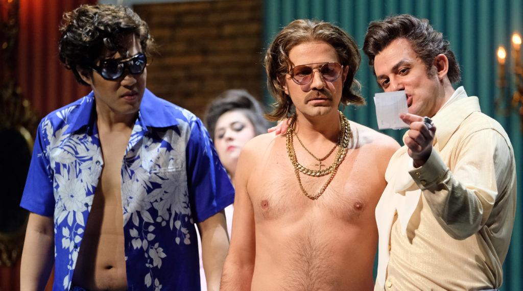 Yang Xu (Elviro), Max Emanuel Cencic (Arsamene), Franco Fagioli (Serse). Foto: Falk von Traubenberg
