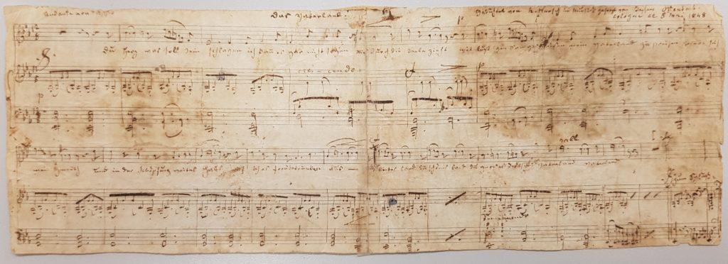 """Notenmanuskript """"Das Vaterland"""", 8. Mai 1848, HAStK Best. 1136, A 1561"""